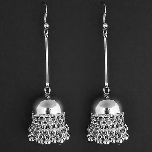 Jeweljunk Silver Plated Hanging Jhumki Earrings