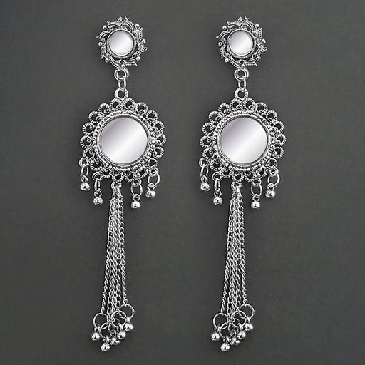 Kriaa White Mirror Oxidised Dangler Earrings