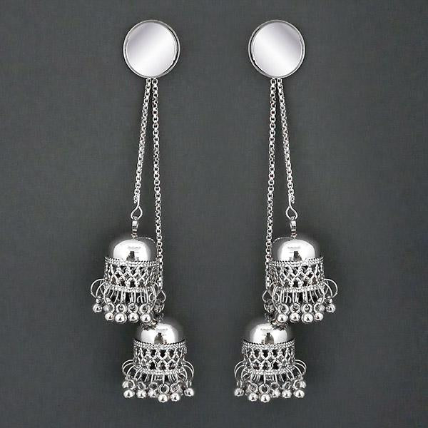 Jeweljunk Silver Plated Kashmiri Jhumka Earrings - 1315325