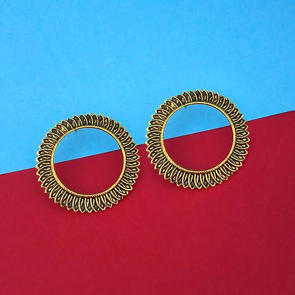 Jeweljunk Antique Gold Plated Round Stud Earrings - N1315330A