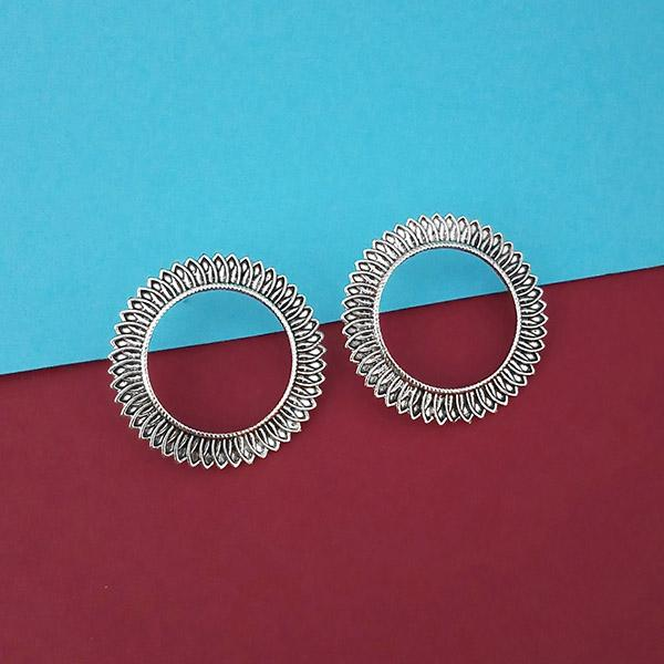Jeweljunk Oxidised Round Shape Fashion Stud Earrings