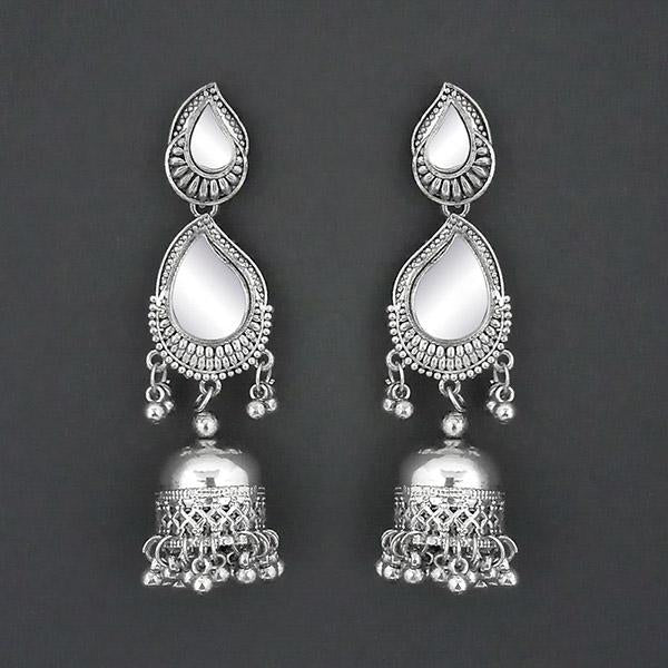 Jeweljunk Mirror Silver Plated Jhumki Earrings - 1315335