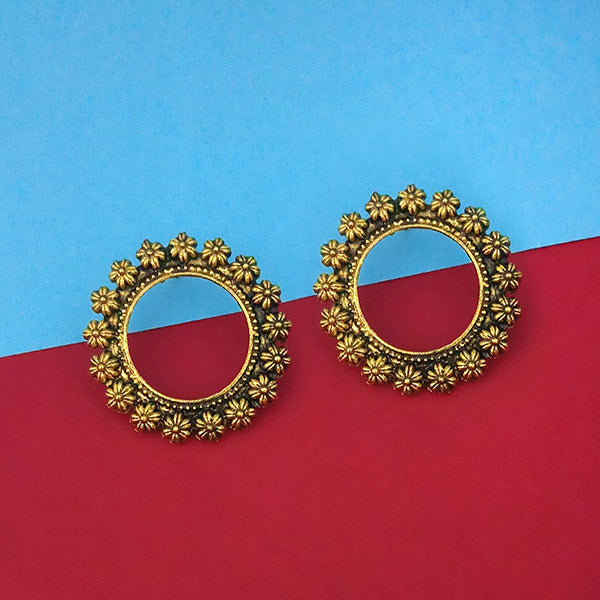 Jeweljunk Antique Gold Plated Floral Design Round Stud Earrings