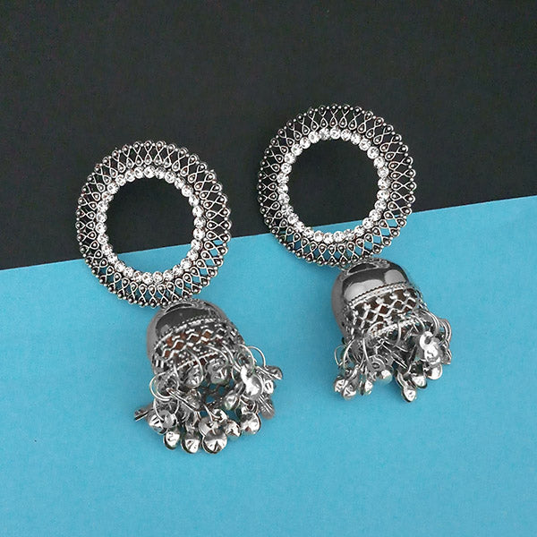 Jeweljunk Austrian Stone Silver Plated Jhumki Earrings