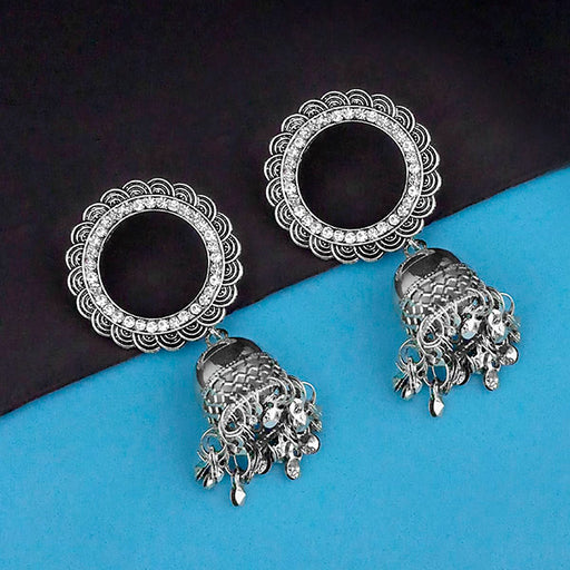 Jeweljunk Rhodium Plated Austrian Stone Jhumki Earrings