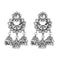 Jeweljunk White Austrian Stone Oxidised Plated Jhumki Earrings - 1315363