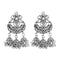 Jeweljunk White Austrian Stone Oxidised Plated Jhumki Earrings - 1315364