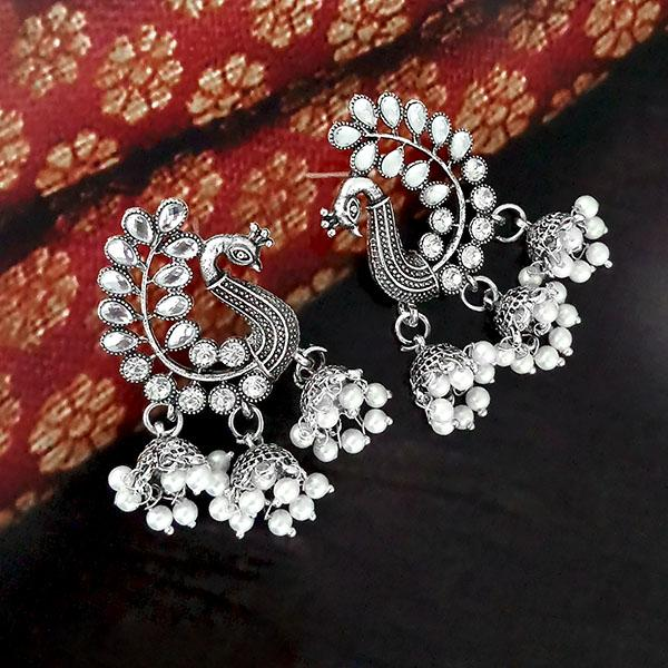 Jeweljunk White Austrian Stone Oxidised Plated Peacock  Jhumki Earrings - 1315366