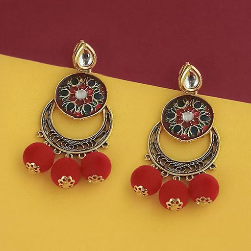 Kriaa Gold Plated Maroon Meenakari Pom Pom Earrings - 1315510E