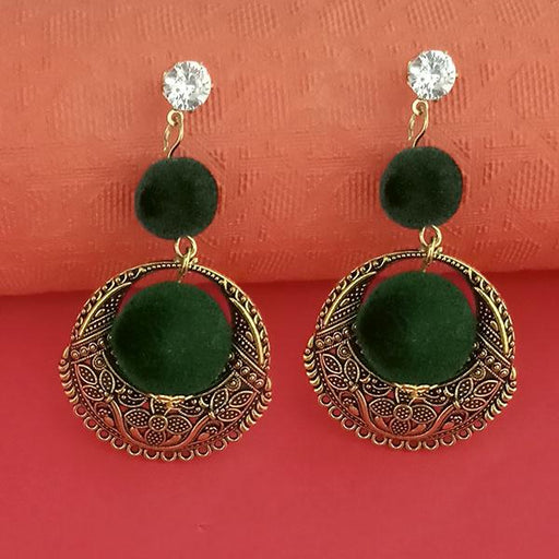 Kriaa Gold Plated Stone And Green Pom Pom Dangler Earrings