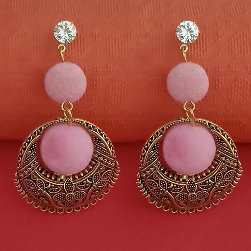Kriaa Gold Plated Stone And Pink Pom Pom Dangler Earrings