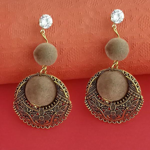 Kriaa Gold Plated Stone And Brown Pom Pom Dangler Earrings