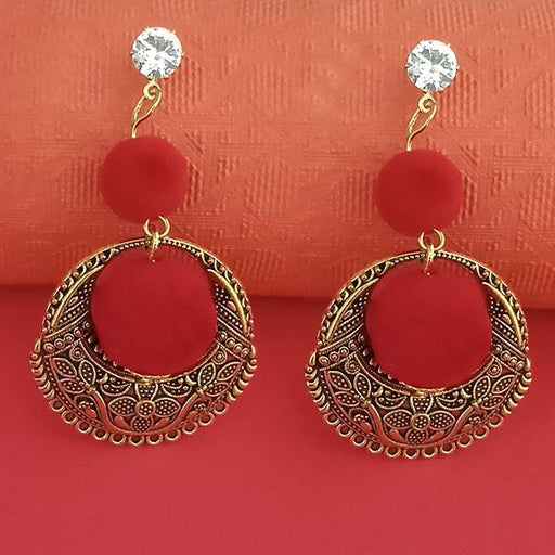 Kriaa Gold Plated Stone And Red Pom Pom Dangler Earrings