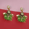Kriaa Kundan Stone And Green Wood Dangler Earrings