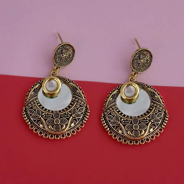 Kriaa Gold Plated Kundan Stone Mirror Dangler Earrings
