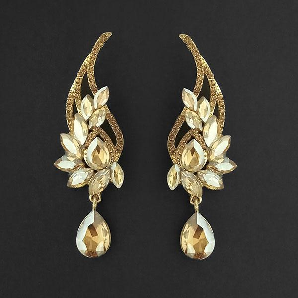 Kriaa Brown Crystal Stone Dangler earrings - 1315606