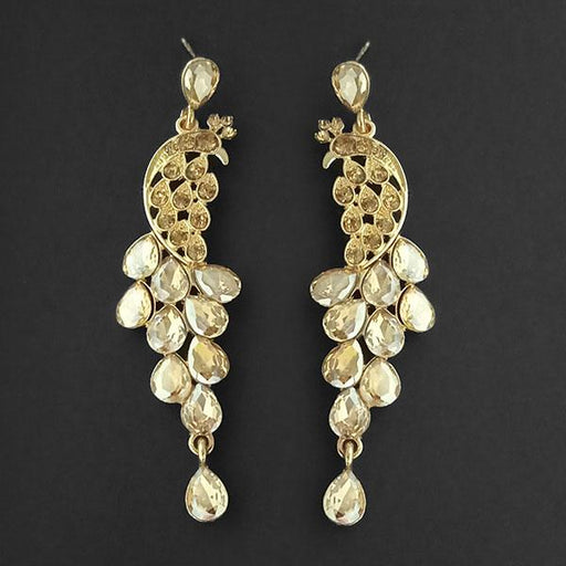 Kriaa Brown Crystal Stone Dangler earrings - 1315613