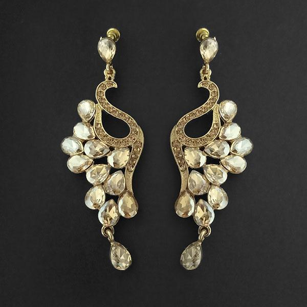 Kriaa Brown Crystal Stone Dangler earrings - 1315616