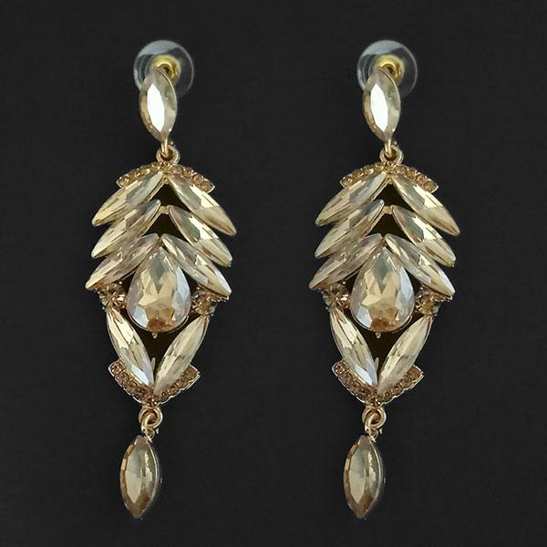 Kriaa Brown Crystal Stone Dangler earrings - 1315618