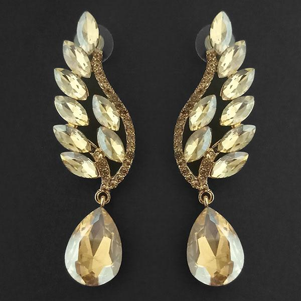 Kriaa Brown Crystal Stone Dangler earrings - 1315620