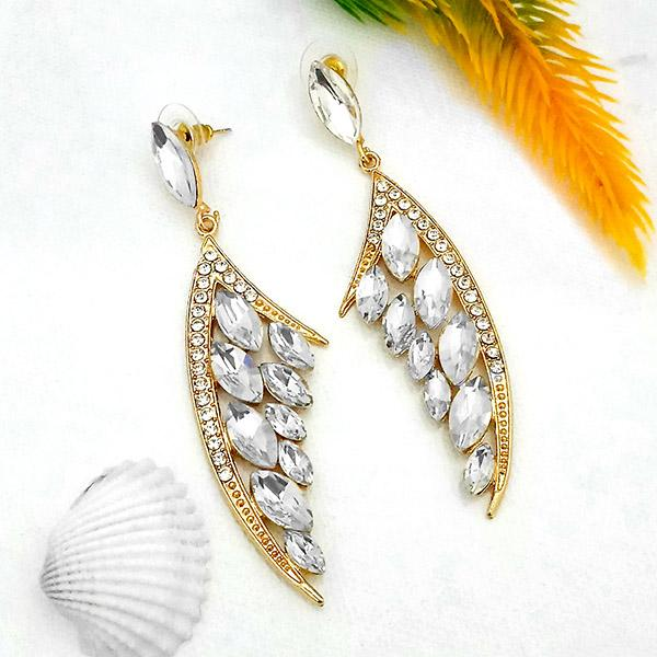 Kriaa White Crystal And Austrian Stone Dangler earrings - 1315621A