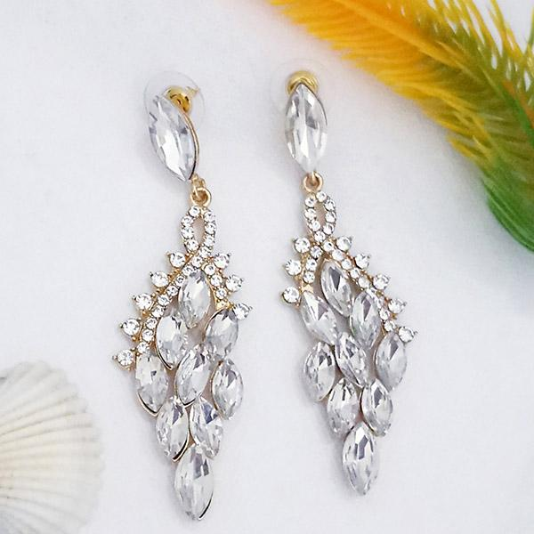 Kriaa White Crystal And Austrian Stone Dangler earrings - 1315622A