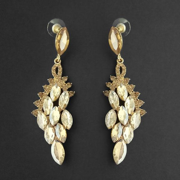 Kriaa Brown Crystal Stone Dangler earrings - 1315622