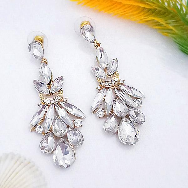 Kriaa White Crystal And Austrian Stone Dangler earrings - 1315623A