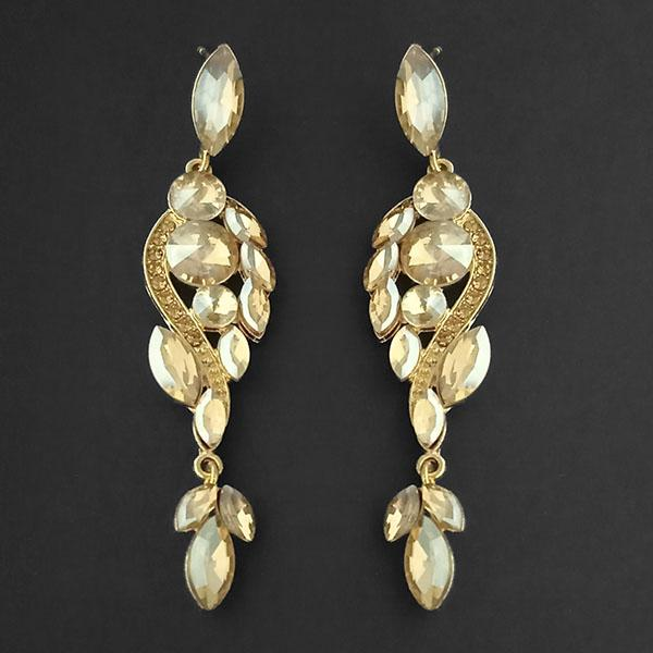 Kriaa Brown Crystal Stone Dangler earrings - 1315625