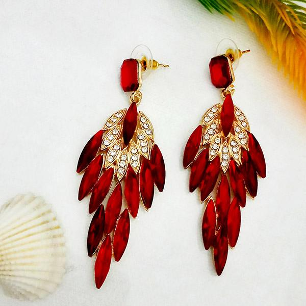 Kriaa Red Crystal And Austrian Stone Dangler earrings - 1315627D