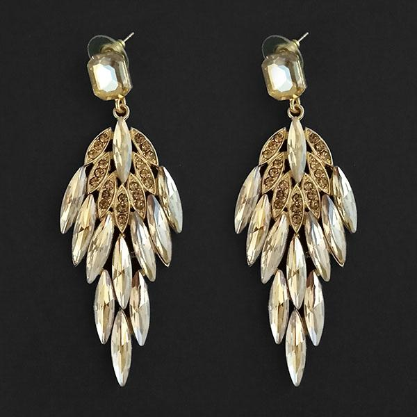Kriaa Brown Crystal Stone Dangler earrings - 1315627