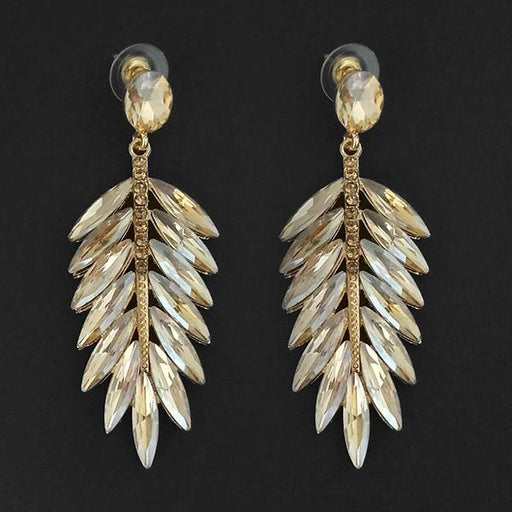 Kriaa Brown Crystal Stone Dangler earrings - 1315628