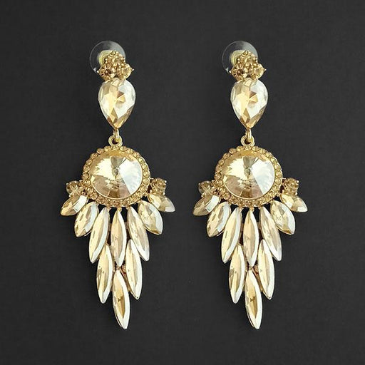 Kriaa Brown Crystal Stone Dangler earrings - 1315629