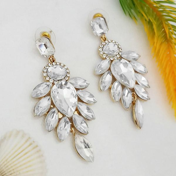 Kriaa White Crystal And Austrian Stone Dangler earrings - 1315631A