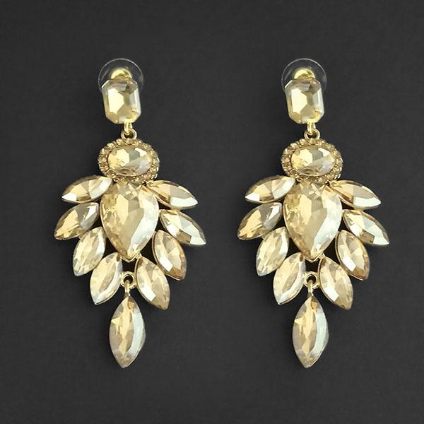 Kriaa Brown Crystal Stone Dangler earrings - 1315631