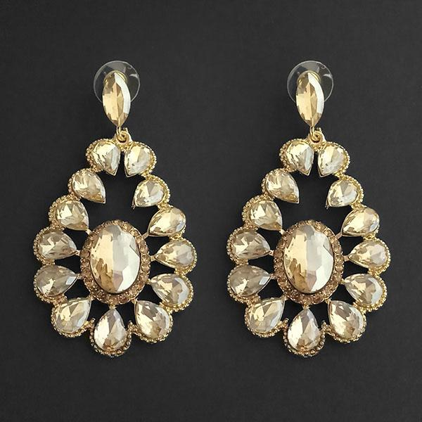 Kriaa Brown Crystal Stone Dangler earrings - 1315632