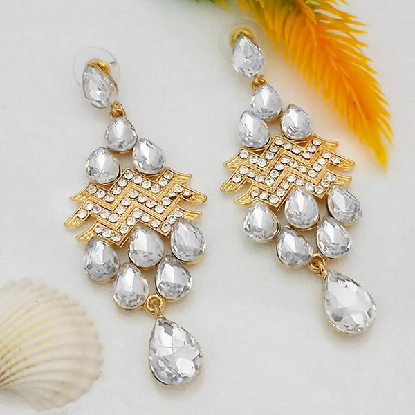 Kriaa White Crystal And Austrian Stone Dangler earrings - 1315636A