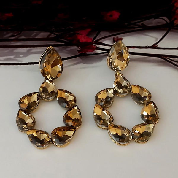Kriaa Brown Crystal Stone Dangler earrings - 1315639