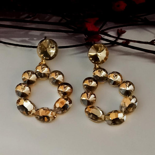 Kriaa Brown Crystal Stone Dangler earrings - 1315642