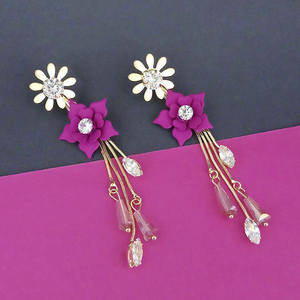 Urthn Pink Floral Gold Plated Dangler Earrings - 1315701B