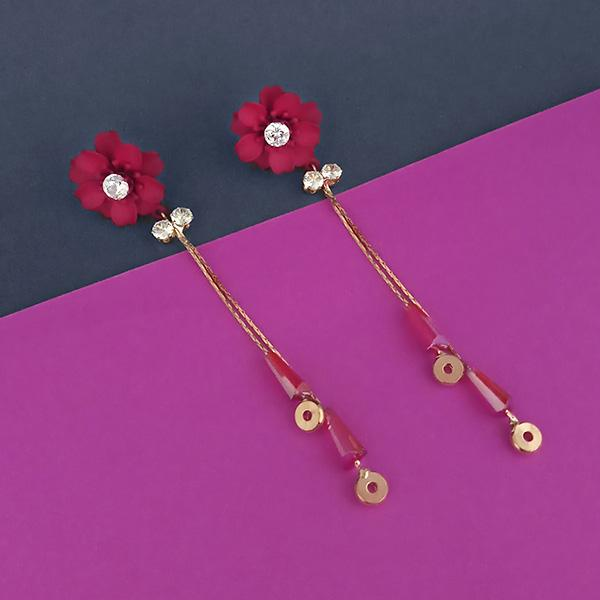 Urthn Red Floral Austrian Stone Dangler Earrings - 1315702B