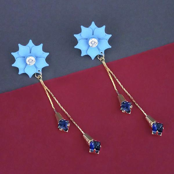 Urthn Blue Floral Austrian Stone Dangler Earrings - 1315704D