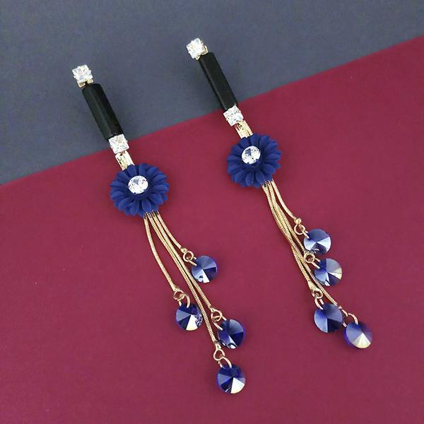 Urthn Blue Floral Austrian Stone Dangler Earrings - 1315705A