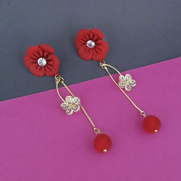 Urthn Red Floral Austrian Stone Dangler Earrings - 1315706B