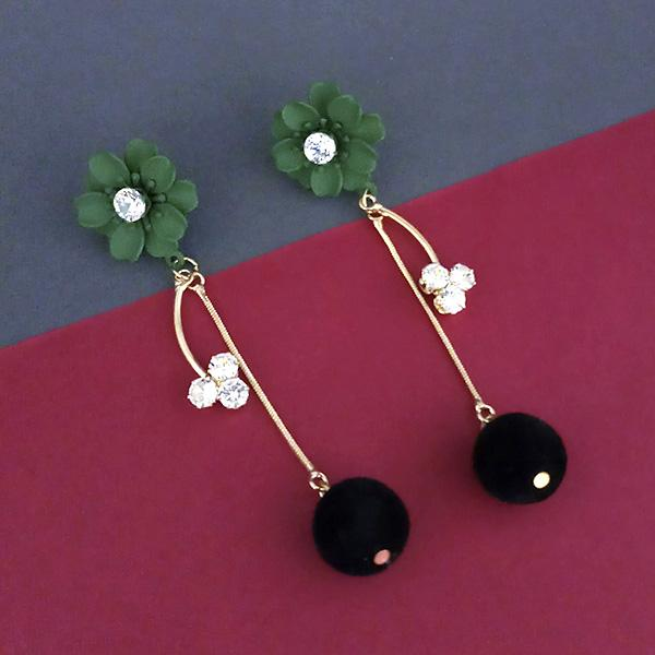 Urthn Green Floral Austrian Stone Dangler Earrings - 1315708F