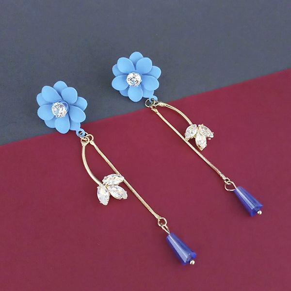 Urthn Blue Floral Austrian Stone Dangler Earrings - 1315709A