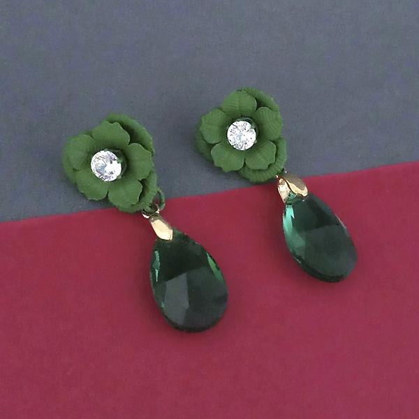 Urthn Green Floral Austrian Stone Dangler Earrings - 1315710F