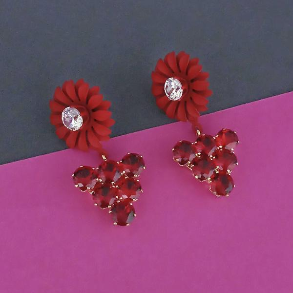 Urthn Red Floral Austrian Stone Dangler Earrings - 1315713B
