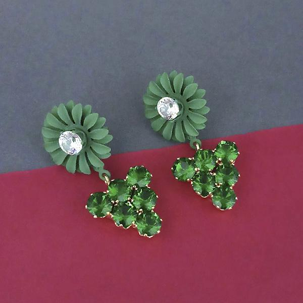 Urthn Green Floral Austrian Stone Dangler Earrings - 1315713F