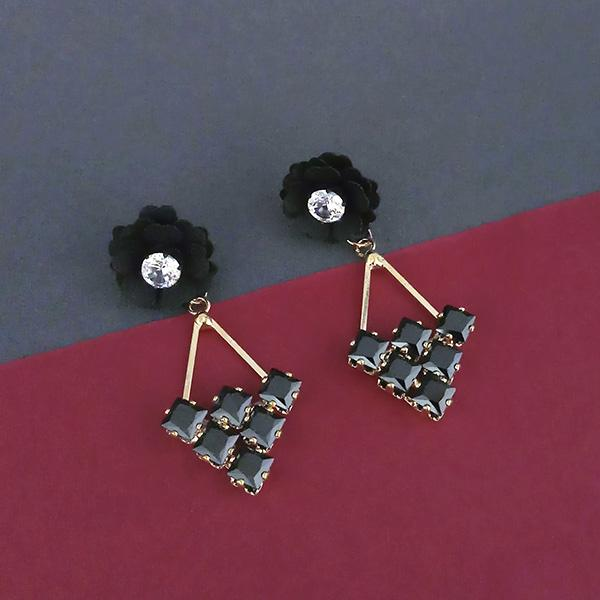 Urthn Black Floral Gold Plated Dangler Earrings - 1315714E
